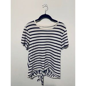 Navy and White Striped Madewell Shirt